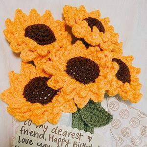 Handmade Crochet Sunflower Bouquet Bundle